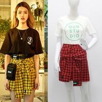 2019 Autumn Woman Korea Chic High Waist College Style Short Skirt Fake Two Piece Mini Skirt Harajuku Plaid Skirt