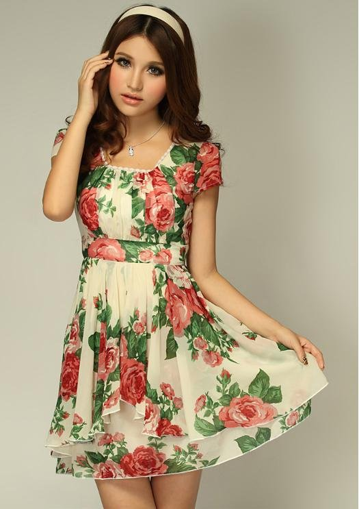 Ms Color Plus Size Las S Cute Flower Print Chiffon Dress Women Fashion 1529 In Dresses From Clothing Accessories On