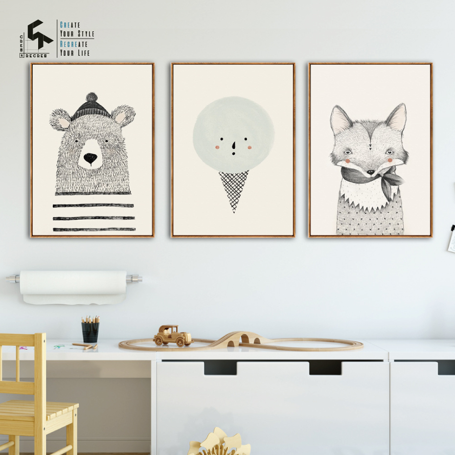 CREATE RECREATE Nursery Decor Fox Posters And Prints Bear Wall Art Canvas Oil Painting for Home Decoration Pictures CR1810106022 in Painting Calligraphy from Home Garden