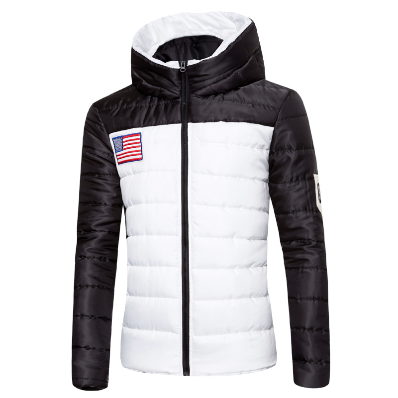 Hooded Cotton Padded Jacket Jacket Men's Labeling Winter New American Flag Embroidered Standard Slim Padded Cotton