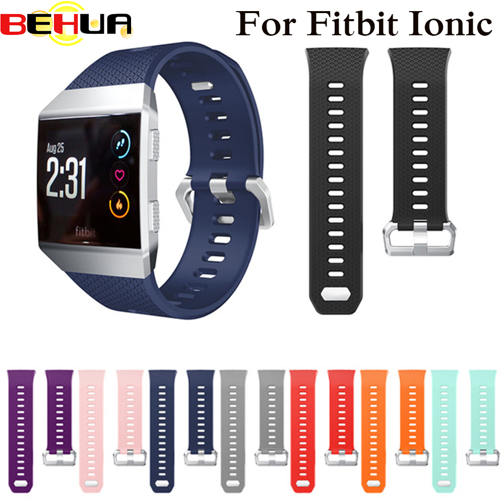 BEHUA Watch Bands for Fitbit Ionic Bands Accessories Silicone Sport Strap with Stainless Steel Metal Clasp for Fitbit Ionic Band