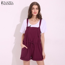 ZANZEA 2017 Summer Rompers Womens Jumpsuits Casual Loose Pockets Playsuits Strapless Sleeveless Overalls Plus Size Bodysuits