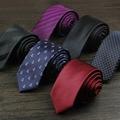 Alta Calidad 2016 Nuevas Llegadas Mens 6 cm Corbatas Delgadas para hombres de La Marca de Moda Skinny Gravata Boda Corbata de Rayas de la Tela Escocesa de Regalo CAJA