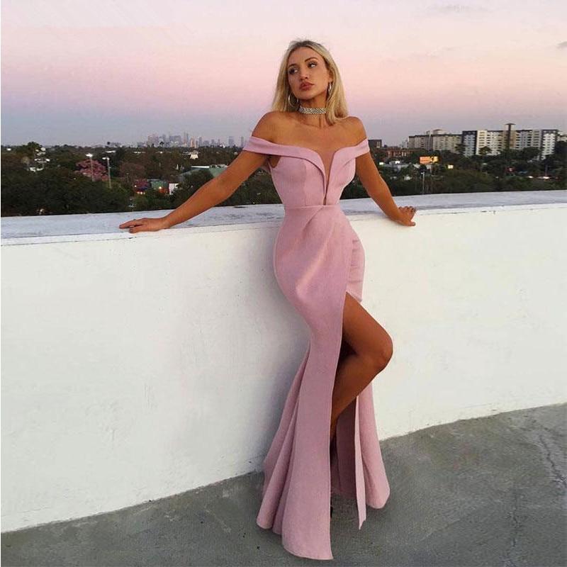Robe De Soiree Off the Shoulder Pink   Evening     Dresses   with Split 2019 Satin Mermaid Prom Party   Dresses   Long Abiye Gece Elbisesi