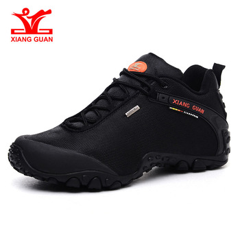 XIANG GUAN Outdoor Hiking shoes EUR size 39-48 man Breathable Anti-skid Windproof black travel Shoe Trend Sports Sneakers xiang guan outdoor shoes men quality waterproof hiking shoes anti skid wear resistant breathable trekking boots us size 6 12
