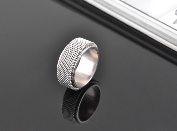wholesale Double rotating316L Stainless Steel lovers rings men black net design jewelry jewelry