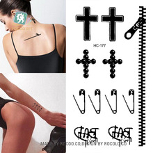 HC1177 Body Art Sex Products Black White Brooch Cross Zipper Water Transfer Temporary Fast Flash Fake Tattoos Sticker Taty