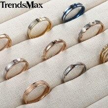 Trendsmax Womens Hochzeit Band Ring Schwarz Gold Blau Edelstahl Engagement Ringe für Frauen Jahrestag Geschenk KKRMM1