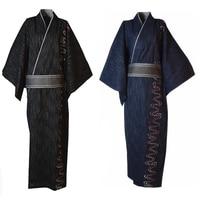 Men Lounge Long Robe With Belt Japanese Traditional Kimono Yukata Male Cotton Bathrobe Cosplay Clothes Halloween Costume