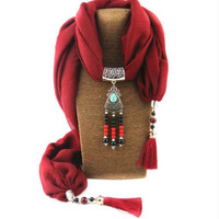 New Cotton And Linen Ceramic Tassel Pendant Scarf Mixed Color Accessories Ladies Shawl Necklace Jewelry Necklace
