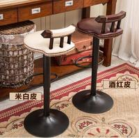Free shipping Real wood chair, wrought iron bar chair. Lifting chair. Rotate. Stool bar chair