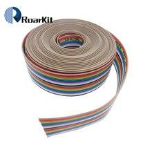 Cabo de fita 20 vias cor lisa arco-íris 20pin fio dupont conector 20p 2.54mm passo 1 metros