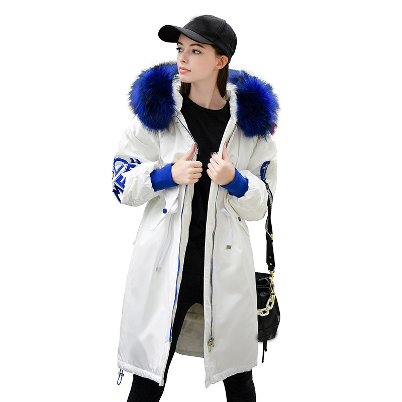 Huge Natural Raccoon Fur 2019 New Women Winter Jackets Long Parkas Female Hooded Jacket Thick Warm