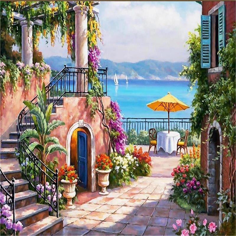 3d Stereoscopic Mural Wallpaper Custom Wallpaper Murals Mediterranean Landscapes 3d