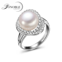 Freshwater big pearl rings for women silver 925,wedding ring lady adjustable girl jewelry,engagement white top quality gift