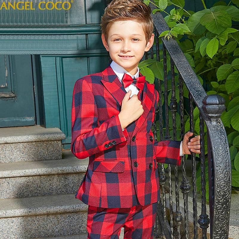 Elegant Gentleman'S Kids Boy Dress Suit Blazer Boys Red Navy Blue Plaid Boys Suits For Weddings Formal Classic Costume Garcon недорго, оригинальная цена