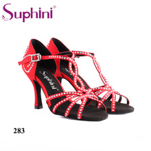 Free Shipping Hot Sell Suphini Crystal Woman Salsa Dance Shoes Red Satin Professional Latin dance shoes цена