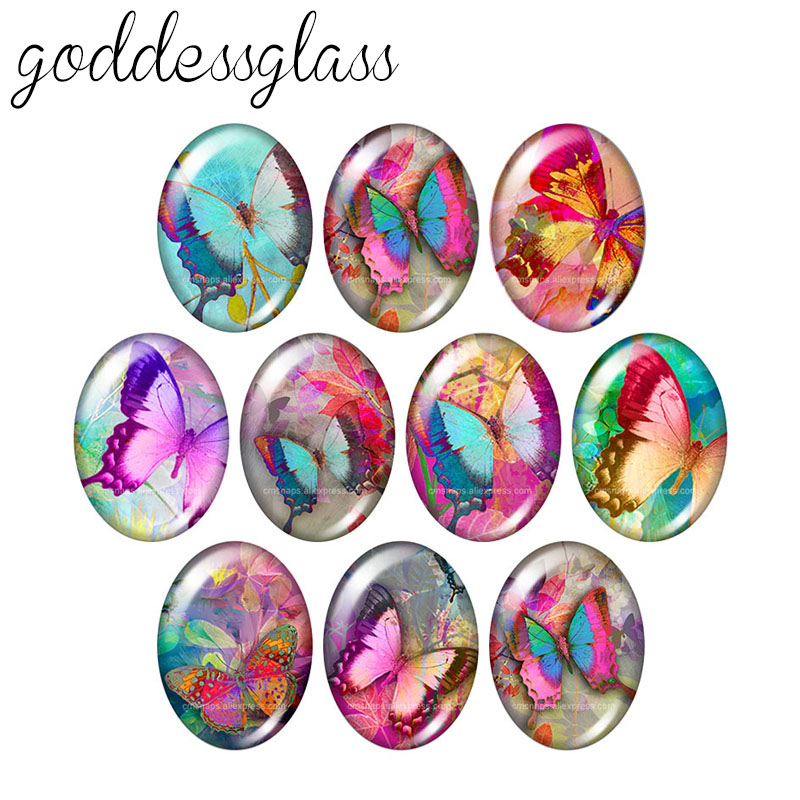 Beauty Magical Butterfly Hummingbirds 10pcs 13x18mm/18x25mm/30x40mm Oval Photo Glass Cabochon Demo Flat Back Making Findings