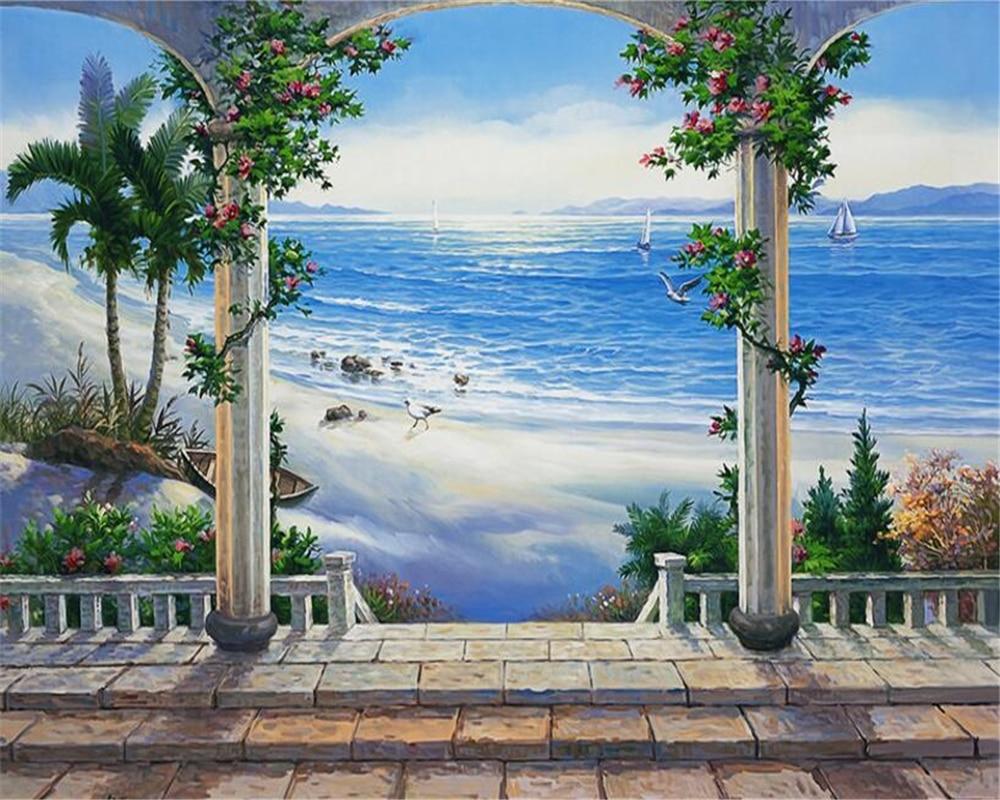 Custom 3 D Photo Wallpaper Wall Murals 3d Wallpaper Beach: Beibehang Custom 3D Photo Wallpaper Beach Scenery Balcony