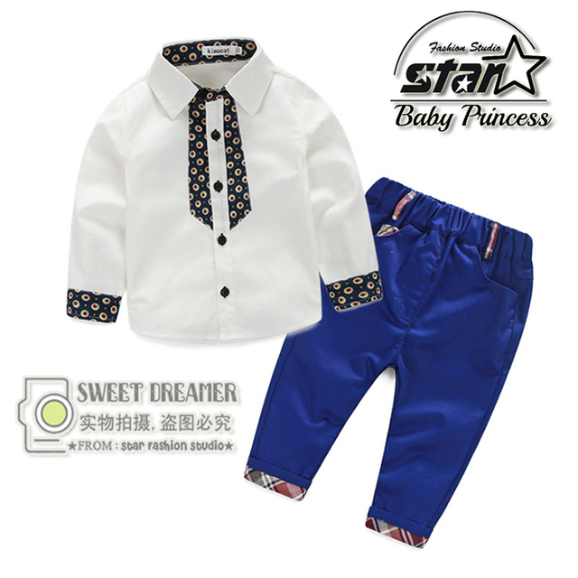 New 2016 Spring Fashion Baby Boy Clothes Gentleman Suit Plaid Long Sleeve Shirt Blouse + Pants 2 piece Set of Clothes for Boys