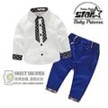 Novo 2016 Moda Primavera Roupas de Bebê Menino Cavalheiro Terno Xadrez Camisa Blusa de manga comprida + Calças 2 peça Conjunto de Roupas para meninos