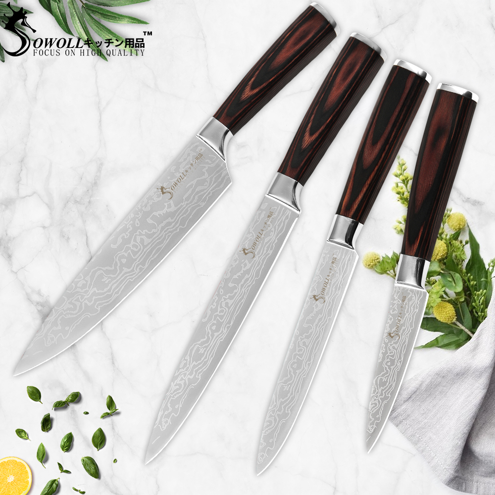 Sowoll Stainless Steel Kitchen Knives Set Damascus Pattern Blade Kitchen Knife Utral Sharp Vege Meat Cleaver