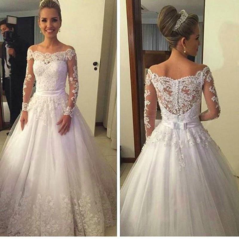 16ea1e3f981e Vestidos De Noiva Lace Wedding Dresses High Neck Long Sleeve Sweep Train  Appliques Ribbons A-line Bridal Dress