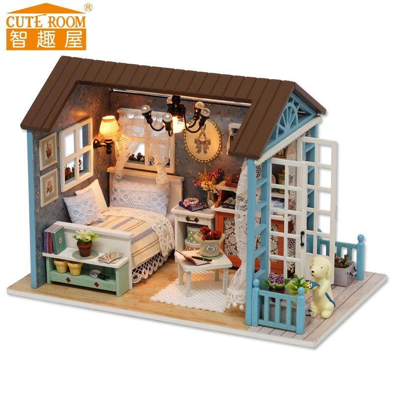 इकट्ठा DIY लकड़ी के घर खिलौना लकड़ी Miniatura गुड़िया घरों लघु गुड़ियाघर खिलौने फर्नीचर एलईडी रोशनी जन्मदिन का उपहार z007 के साथ