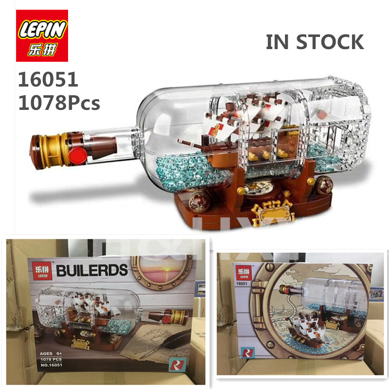 IN STOCK H&HXY 16045 775pcs 16051 1078pcs Creative Series The Ship in the Bottle lepin Building Blocks Brick Toy 21313 Model lepin 16051 toys 1078pcs ship in a bottle legoingly 21313 sets building nano blocks bricks funny toys for kids birthday gifts