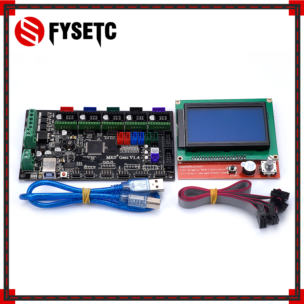 MKS Gen V1.4 Control Board Mainboard Compatible With Ramps1.4/Mega2560 R3 + 12864 Graphic LCD Display For 3D Printer Parts mks gen v1 4 control board mainboard compatible with ramps1 4 mega2560 r3 5pcs tmc2130 v1 0 stepper motor for 3d printer parts