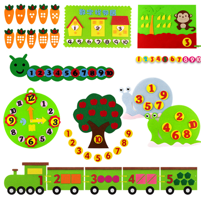 DIY Digit Theme Felt Non-woven Craft For Kindergarten Kid Handmade Early Learning Number Fabric Material Package
