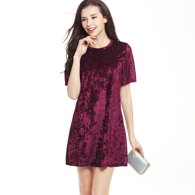 da87fd59ab6d Burgundy Velvet Dress for Women Short Sleeve Casual Loose Mini Dresses  Solid Color Summer Autumn Female Elegant Dress Plus Size