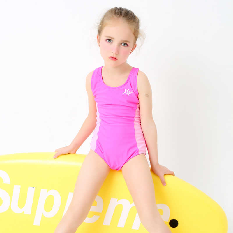 59d2fa2b472d9 Girls' One Piece Swimsuit Solid Color Pink Patchwork Sports Swimwear  Children Professional Swimming Wear Bathing