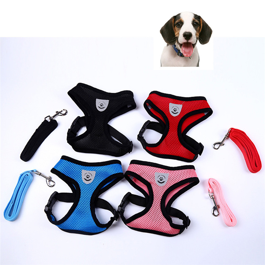 Adjustable Soft Breathable Dog Harness Nylon Mesh Vest Harness For Dogs Puppy Collar Cat Pet Dog Chest Strap Leash Accessories