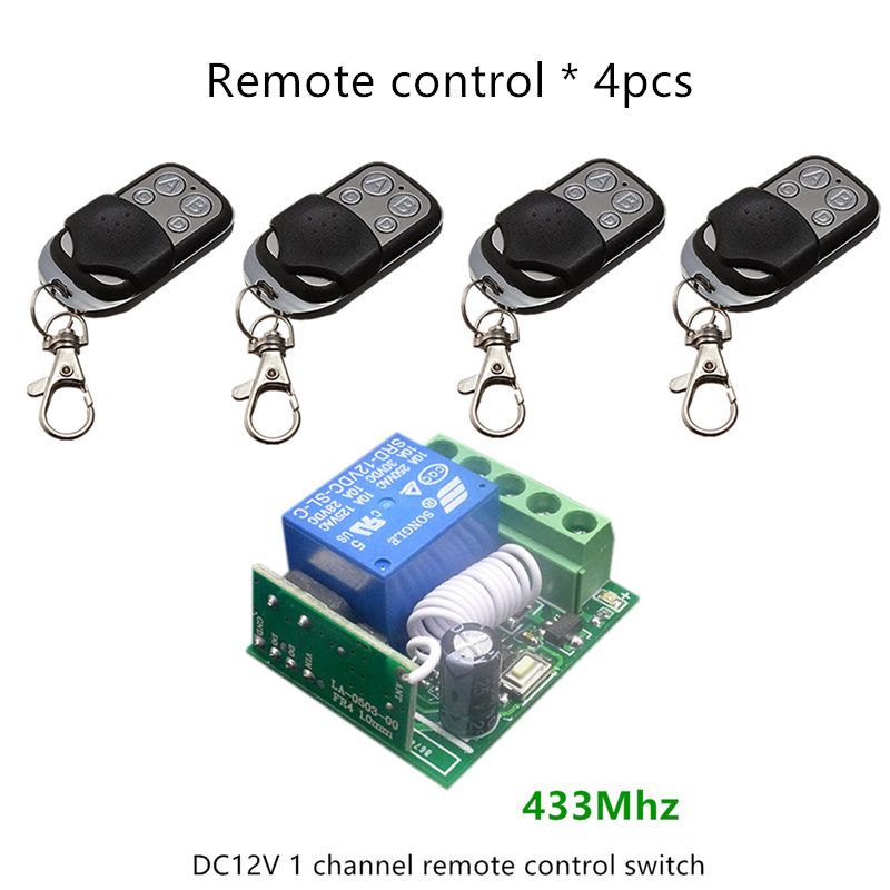 433Mhz Universal Wireless Remote Control Switch DC12V 10A 1CH Relay Receiver Module and 4pcs Transmitter 433 Mhz Remote Controls