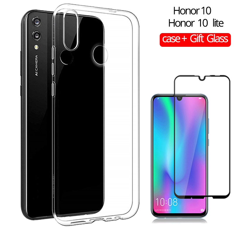 Gift Glass Soft TPU Honor 10 lite Case Clear Silicone Huawei Honor 10 Transparent Clear Cover Honor 10 lite Glass in Fitted Cases from Cellphones Telecommunications
