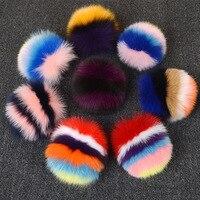 Brand Fluffy 15cm Real Fox Fur Ball Keychain Colour Mixture Fur Pom Pom Key Chain Llavero Pompon Keyring Charm Bag Pendant Gift