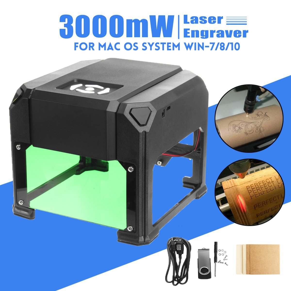 2000 Mw/3000 Mw Usb Desktop Laser Graveur Machine 80X80 Mm Graveren Bereik Diy Logo Mark Printer cutter Cnc Laser Carving Machine - 6