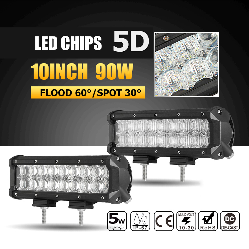Oslamp 1x 10 90W 5D LED Working Light Bar Offroad Spot/Flood Beam Led Work Driving Lamp Headlight Truck SUV ATV 4x4 4WD 12v 24v image
