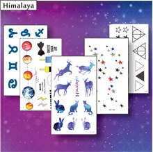 5 Pcs/ Set Temporary Tiny Tattoos, Non-toxic And Waterproof Galaxy Triangle Deer Star Planet Constellation Tattoo