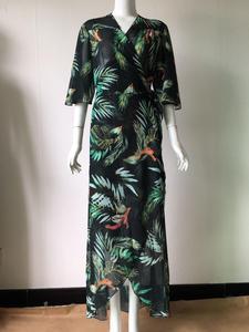 Image 3 - Cover Up Beach Wear Bikini 2019 Dresses For Women Pareo Tunics Summer 2019 Chiffon Lengthened Coastal Skirt Print Acetate Sierra