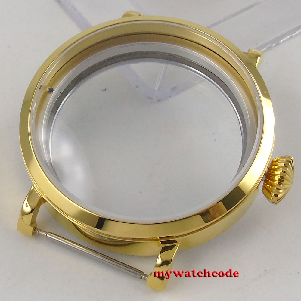 46mm polished rose golden stainless steel Watch CASE fit 6498 6497 movement C144 46mm polished rose golden stainless steel watch case fit 6498 6497 movement c144