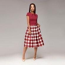 Women Elegant Dot Print Summer Dress Ladies O Neck Short Sleeve Vintage Dress Fashion Knee-Length Patchwork A Line Women Dress