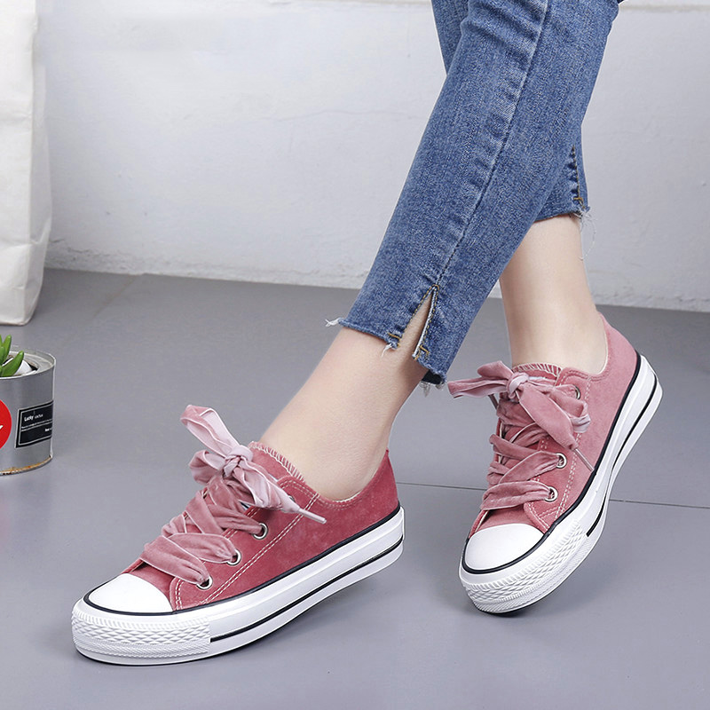 Women Vulcanized Shoes 2018 Fashion Casual Women Shoes Women Canvas Shoes Lace-up Solid Flock Summer Flats Ladies Shoes xaxbxc 2018 new summer fashion black lace up derby shoes flats shoes women leisure shoes woman ladies party wedding shoes