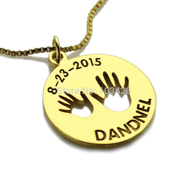 Online shop personalized children jewelry gold color name necklace personalized children jewelry gold color name necklace lovely baby handprint engraved pendant monogram disc necklace aloadofball Gallery