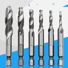 """1/4"""" Hex Shank Drill Bit 6pcs HSS Metric Screw Thread Tap Taper & Drill Bits Metric Composite Tap Drill Bits M3 M4 M5 M6 M8 M10"""