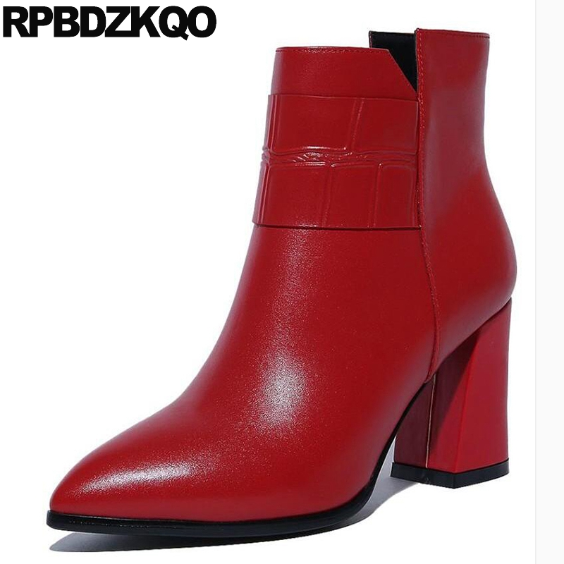 Waterproof Short Shoes Pointed Toe Block Red High Quality Booties Genuine Leather Heel Women Chunky Autumn Ankle Side Zip Boots elegant beige high heel 2017 booties autumn chunky metal genuine leather luxury brand shoes women boots short ankle pointed toe