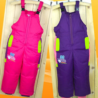 Winter Children's Ski Pants Down Boys And Girls High Waist Trousers Thick Warm Strap Down Pants For 3 9 year