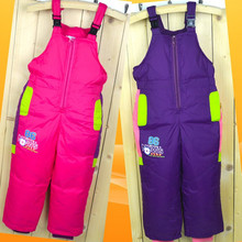 Winter Children's Ski Pants Down  Boys And Girls High Waist Trousers Thick Warm Strap Down Pants For 3-9 year