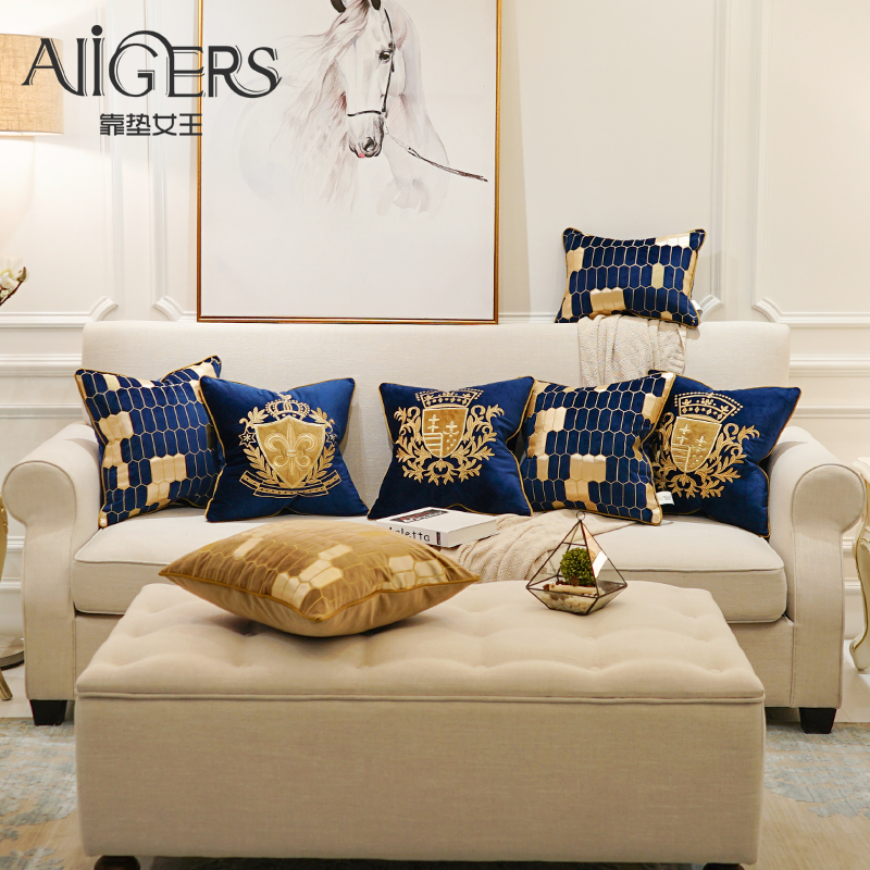Avigers Embroidery Velvet Cushion Cover Luxury European Pillow Cover Gold PillowCase Geometry Home Decorative Sofa Throw Pillow